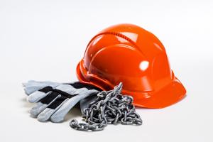 arbeidshansker, kjetting, hjelm